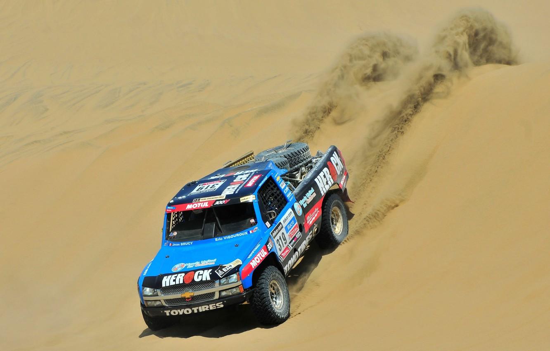 Фото обои Песок, Синий, Chevrolet, Пустыня, Шевроле, Rally, Dakar, Дакар, Ралли