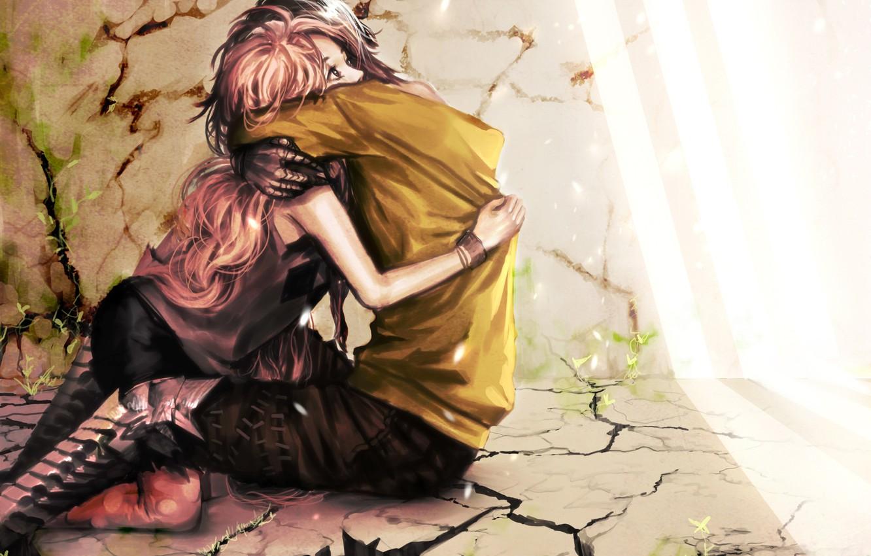 Фото обои девушка, свет, любовь, трещины, стены, растения, арт, пол, парень, обьятия, genki-de