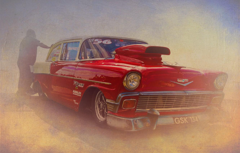 Фото обои ретро, текстура, Chevrolet, Bel Air, Chevrolet Bel Air