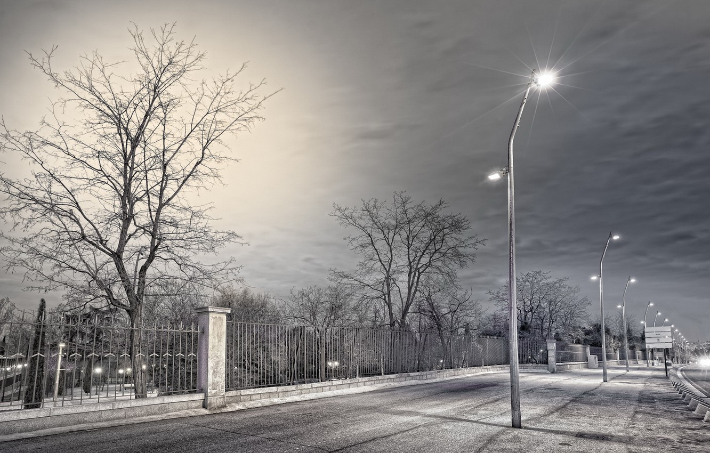 Обои фонари, забор, ночь, улица. Города foto 7