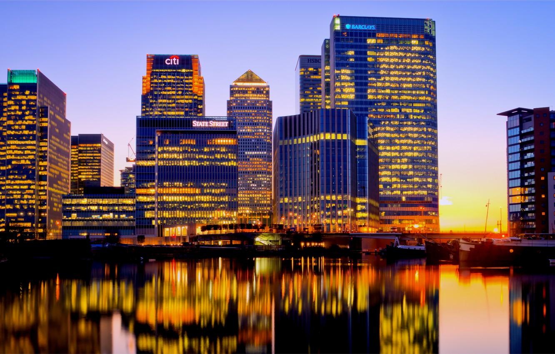 Фото обои небо, закат, желтый, огни, отражение, река, голубое, Англия, Лондон, здания, вечер, подсветка, Великобритания, Темза, London, …