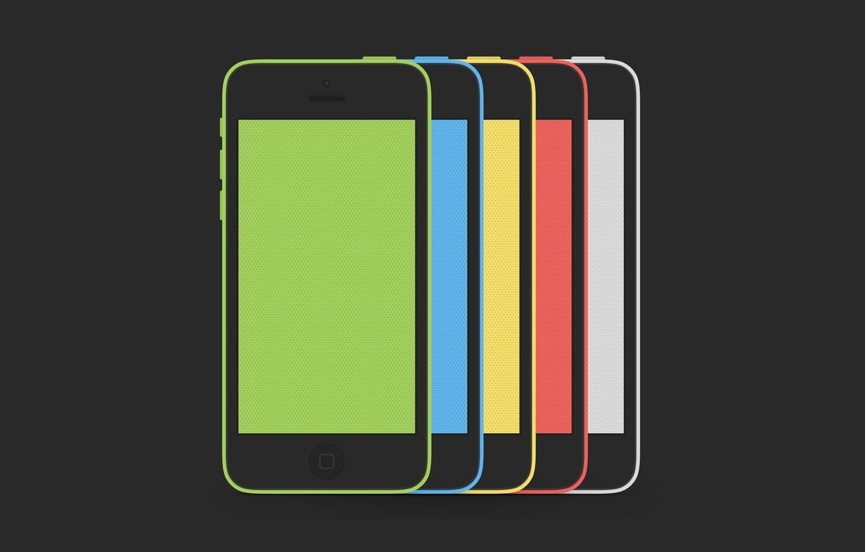 Фото обои Apple, iPhone, Red, Blue, Green, White, Yellow, Hi-Tech, Colors, Smartphone, Minimalistic