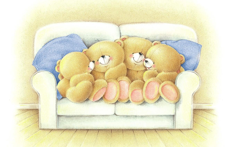 Фото обои настроение, вечер, семья, арт, мишка, разговор, детская, Forever Friends Deckchair bear