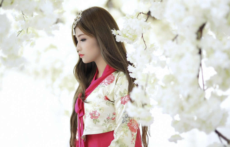 Фото обои девушка, весна, сад, азиатка