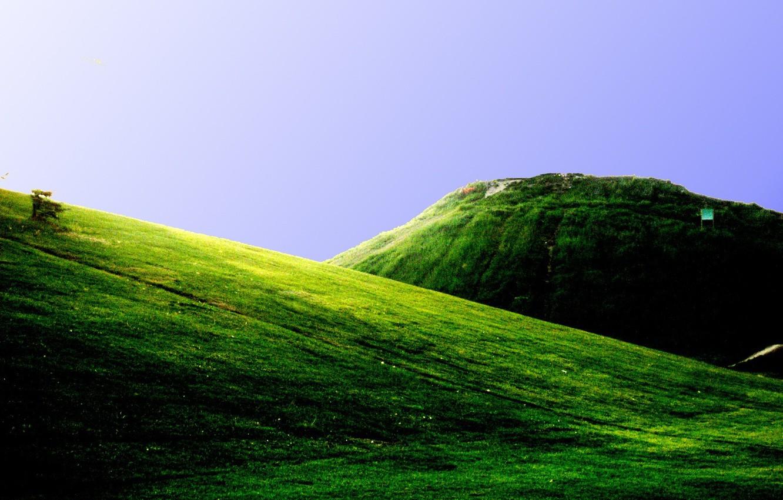 Фото обои зелень, горы, холмы, поля