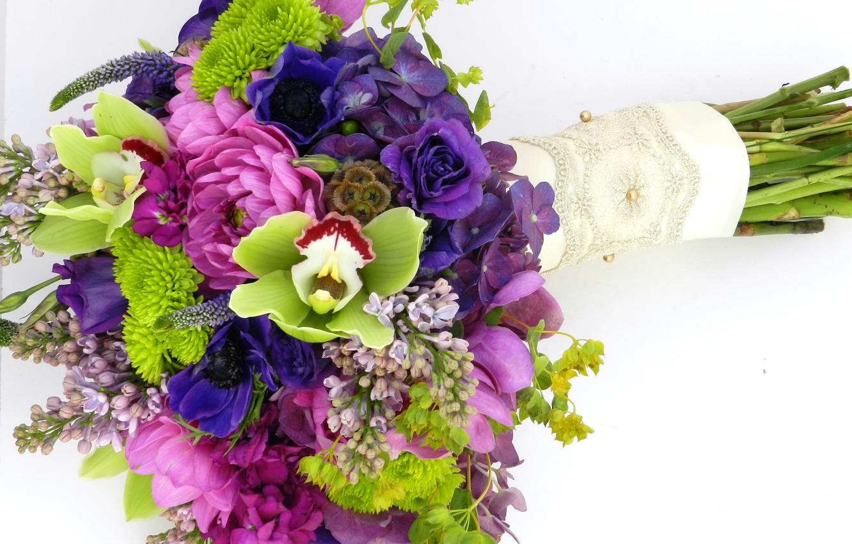 Фото обои фото, Цветы, Букет, Сирень, Розы, Орхидеи, Гортензия, Анемоны