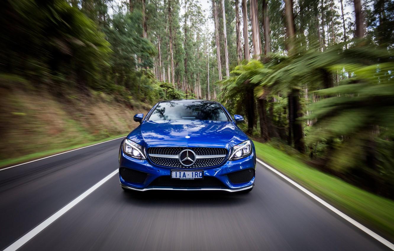 Фото обои синий, Mercedes-Benz, мерседес, AMG, Coupe, C-Class, C205