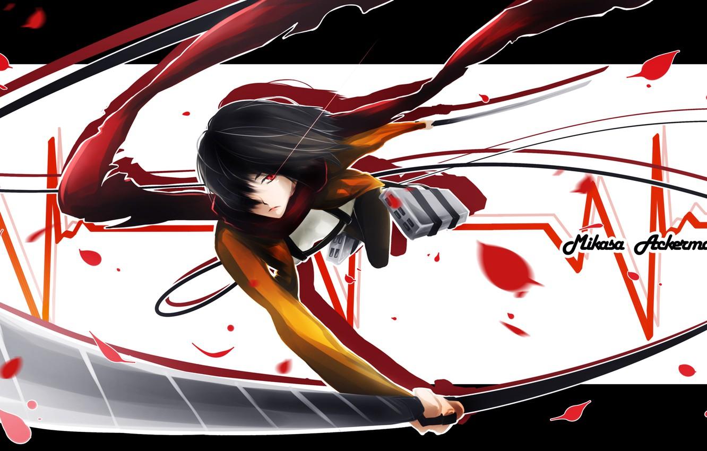 Фото обои взгляд, девушка, оружие, лепестки, шарф, безразличие, пульс, клинки, art, shingeki no kyojin, mikasa ackerman, LancerX
