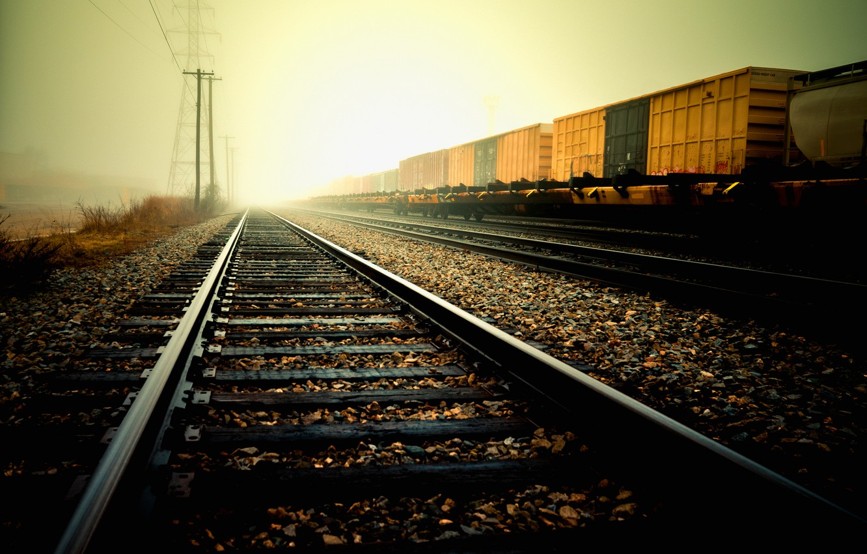 Фото обои рельсы, Дорога, железная дорога, шпалы, щебёнка