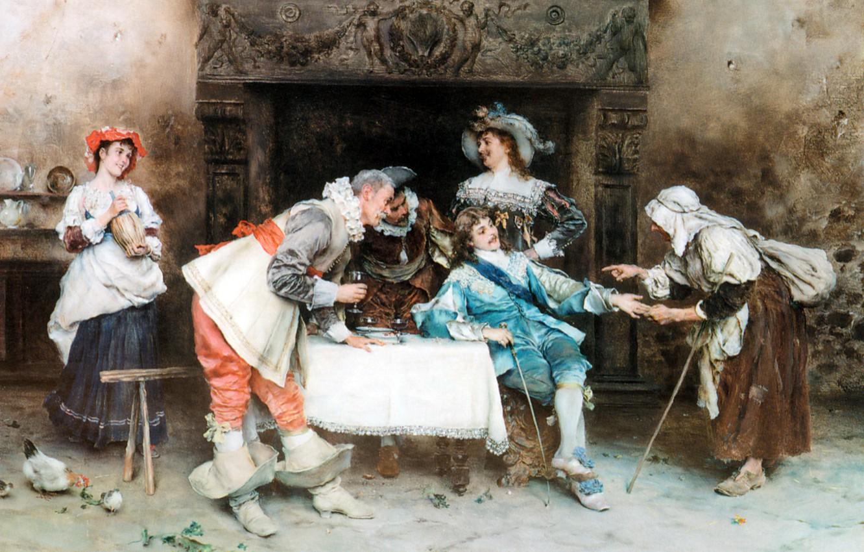 Фото обои картина, живопись, painting, итальянский художник, 1890, good health and good fortune, Francesco Vinea