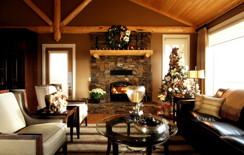 Фото обои дизайн, стол, диван, елка, Рождество, камин, Christmas, особняк, гостиная, Interior