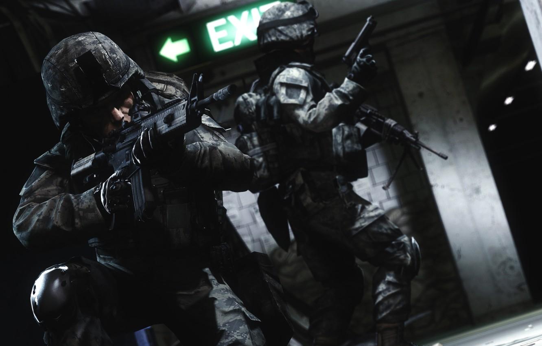 Фото обои рендеринг, оружие, солдаты, battlefield, metro