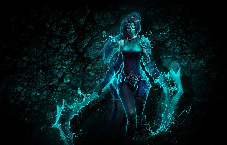 Фото обои взгляд, девушка, оружие, магия, волосы, костюм, хвост, черепа, Akali, League of Legends, ирга