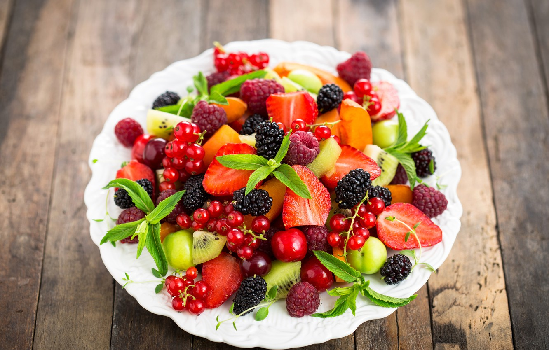 Фото обои вишня, ягоды, малина, киви, клубника, тарелка, fresh, смородина, ежевика, салат, dessert, strawberries, cherries, currant, blackberries, ...