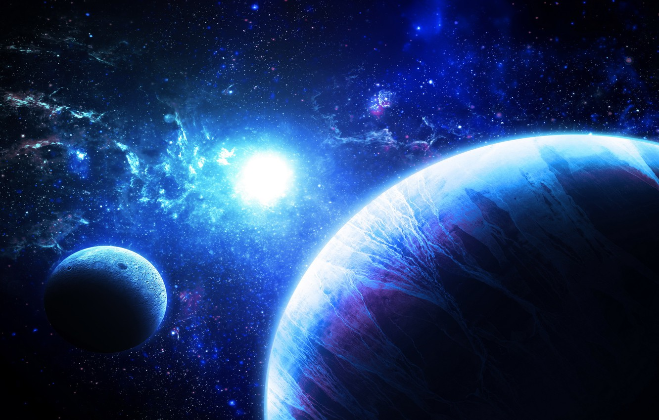 Фото обои fantasy, stars, planets, galaxies, Sci fi, work of art