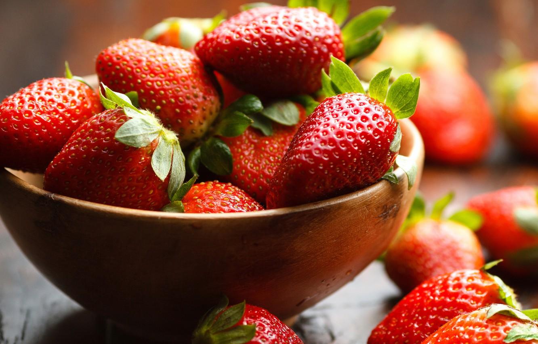 Фото обои ягоды, еда, клубника, красные, много, сочно, пиала, обои от lolita777