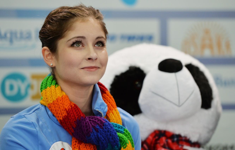 Фото обои фигурное катание, мишка, красотка, спортсменка, Юлия Липницкая, фигуристка
