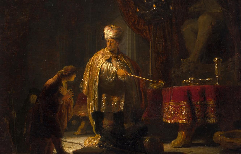 Обои Рембрандт ван Рейн, Даниил и Царь Кир у Идола Ваала, мифология, картина. Разное foto 6