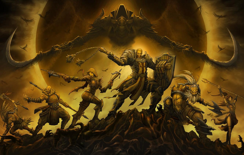 Фото обои Diablo 3, Demon Hunter, Witch Doctor, Barbarian, Wizard, Monk, classes, malthael