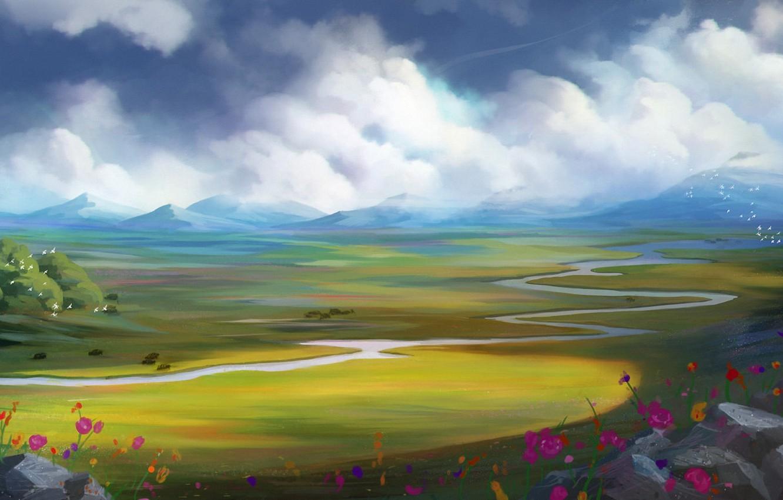 Фото обои облака, цветы, птицы, река, арт, нарисованный пейзаж