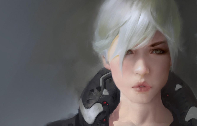 Фото обои глаза, взгляд, девушка, лицо, арт, прическа, губы, белые волосы