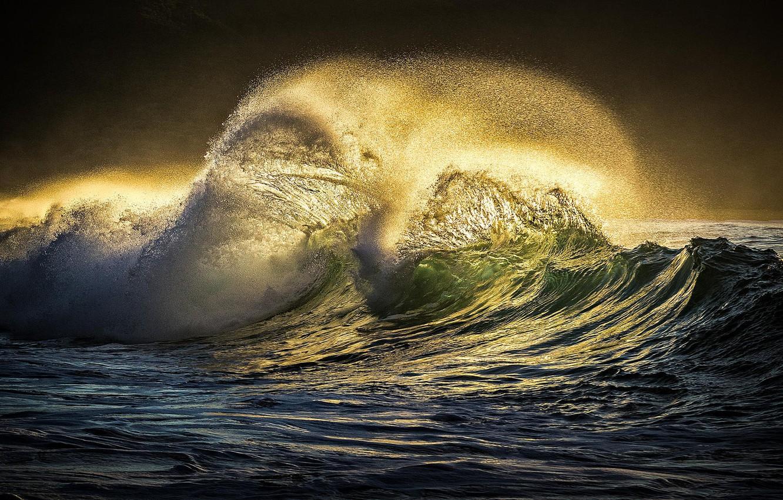 Фото обои брызги, стихия, волна, свечение