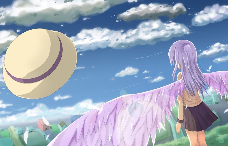 Фото обои Ангел, Крылья, Аниме, Tenshi, Tachibana Kanade, Angel Beats, Ангельские ритмы