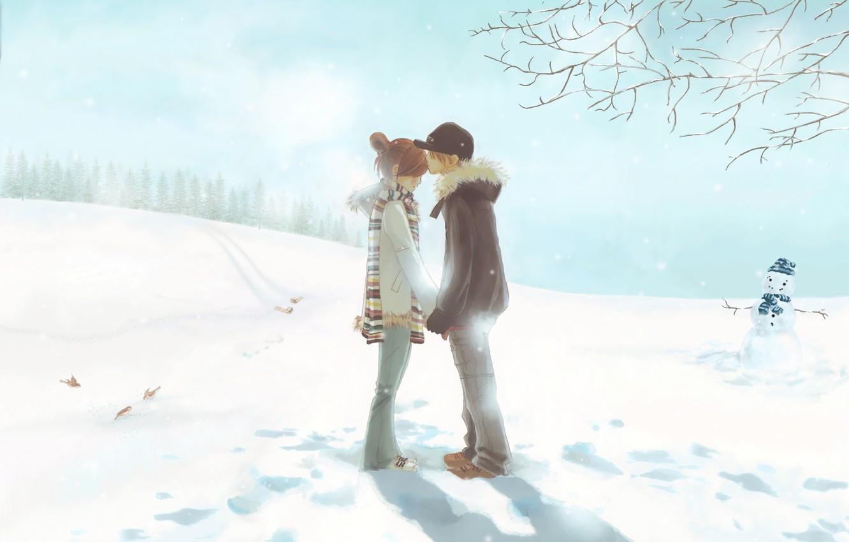 Фото обои зима, нежность, первый поцелуй, двое