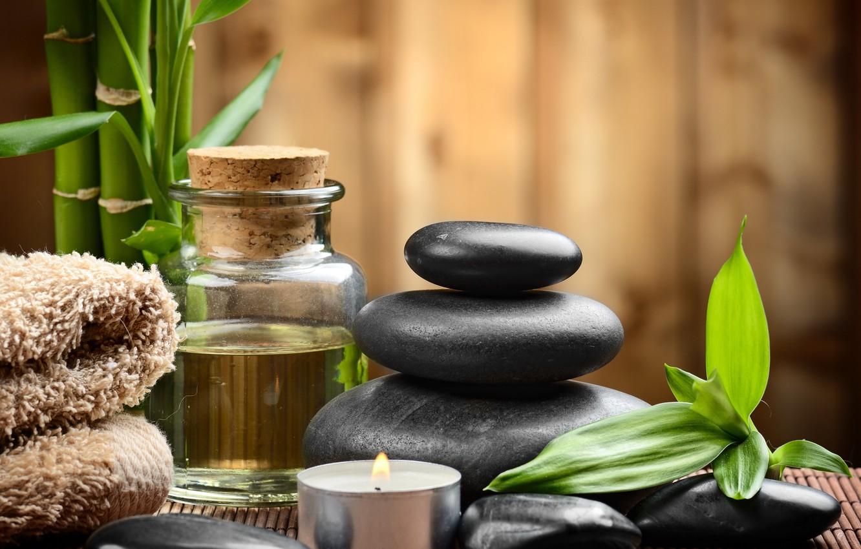 Фото обои камни, спа, stones, bamboo, candles, spa, zen