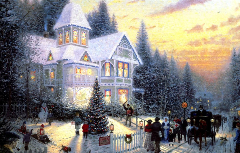 Фото обои кошка, дети, огни, люди, отдых, лошадь, собака, картина, ели, Рождество, подарки, Новый год, повозка, карета, …