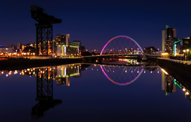Фото обои огни, отражение, река, здания, вечер, Шотландия, подсветка, Великобритания, Scotland, университет, Great Britain, Glasgow, Глазго