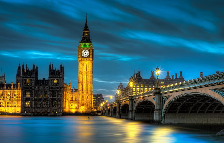 Фото обои вода, свет, ночь, мост, город, река, Англия, Лондон, вечер, освещение, фонари, Великобритания, Темза, Биг-Бен, Вестминстерский …