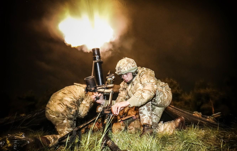 Фото обои оружие, выстрел, солдаты, миномёт