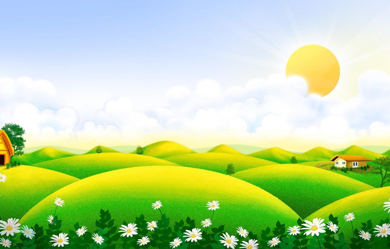Фото обои лето, солнце, цветы, ромашки, луг, арт, домик