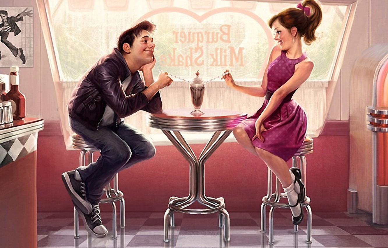 Фото обои взгляд, девушка, любовь, стол, романтика, женщина, чувства, платье, коктейль, кафе, ресторан, мужчина, свидание, картинка, флирт, …