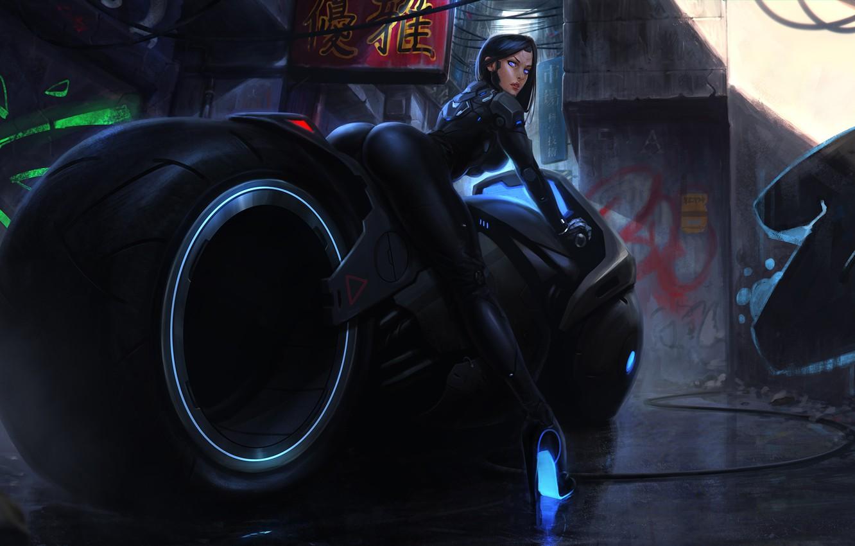 Фото обои попа, девушка, фантастика, ноги, япония, арт, задница, киборг, bike, motorcycle, cyberpunk, cyberbike
