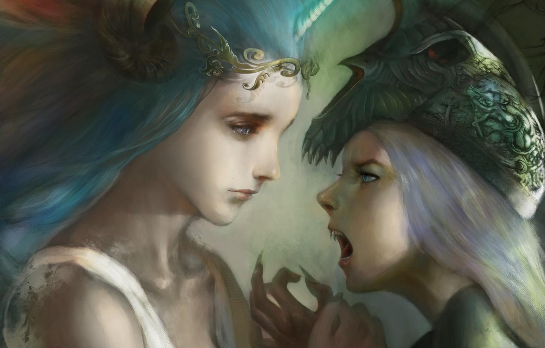 Фото обои грусть, эмоции, девушки, злость, руки, фэнтези, клыки, демоница, сестры, рог