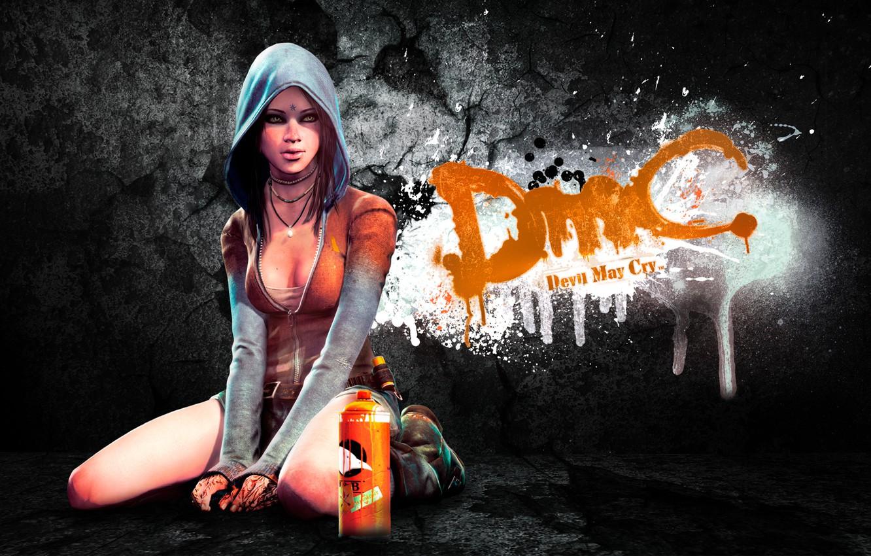 Фото обои girl, game, graffiti, art, background, DmC, Devil May Cry, Kat