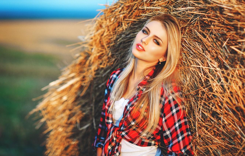 Фото обои девушка, блондинка, тюк, солома, рубашка, прислонилась, Настя, @Сергей Пинчук
