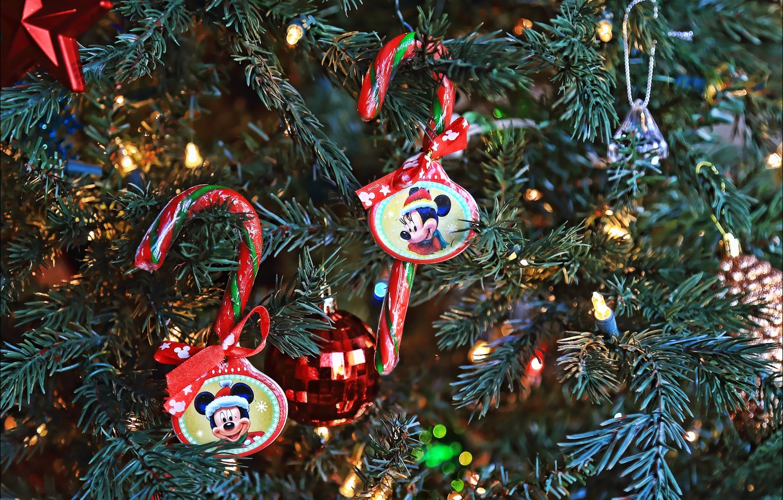 Фото обои игрушки, елка, новый год, рождество, конфеты