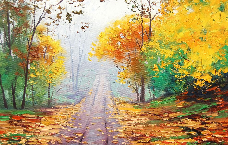 Фото обои осень, листья, деревья, картина, листопад