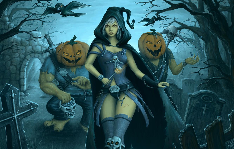 Фото обои девушка, ночь, луна, монстры, кладбище, Halloween