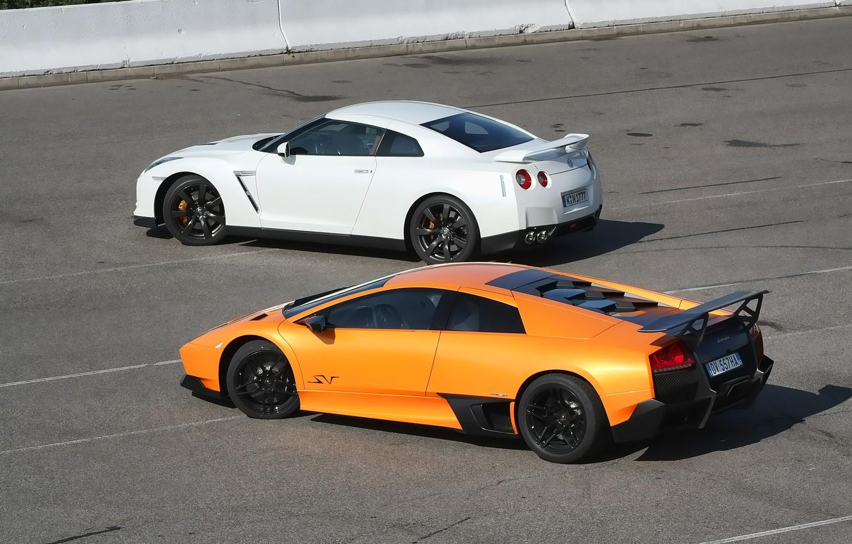 Фото обои Lamborghini, Nissan, GT-R, Murcielago, Supercar, Суперкары, SV LP670-4