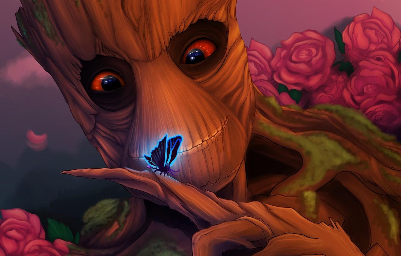 Фото обои взгляд, дерево, бабочка, Groot, guardians of the galaxy, добряк