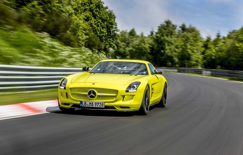 Фото обои Mercedes-Benz, AMG, SLS, Electro car, Электро автомобиль