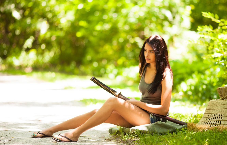 Фото обои лето, девушка, меч, азиатка