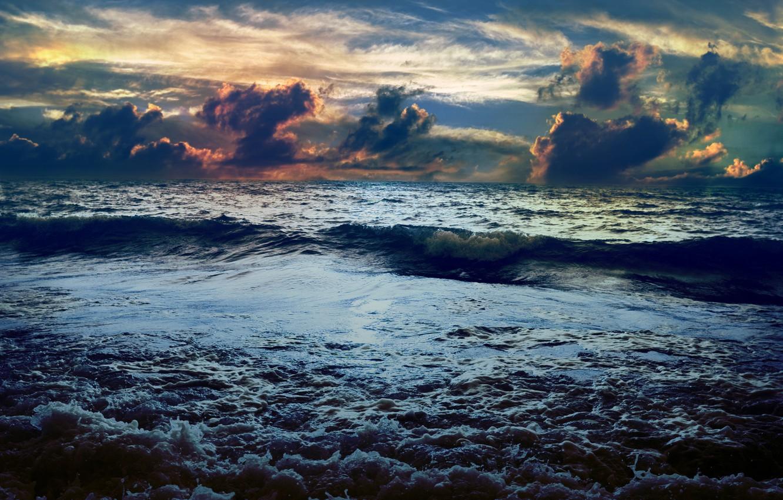 Фото обои море, облака, закат, волна