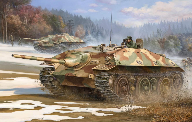 Фото обои war, art, painting, ww2, panzer, german tank, Panzerkampfwagen E25