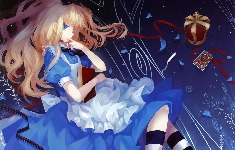 Фото обои девушка, карта, корона, Алиса, книга, Алиса в стране чудес, art, Alice, Dhiea, Alice wonderland