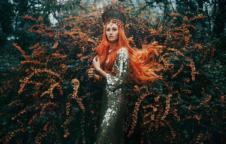 Фото обои девушка, украшения, цветение, рыжеволосая, Bella Kotak, The Tempest